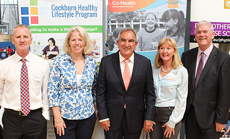 Three men and two woman standing in front of banners at the launch of the Cockburn Healthy Lifestyle Program